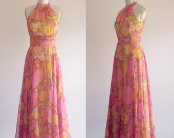 Floral gown- 1960s dress- 60s gown- Chiffon dress- Silk dress- Bohemian dress- Maxi dress-Halter dress- Flower maxi dress-Boho dress- Small