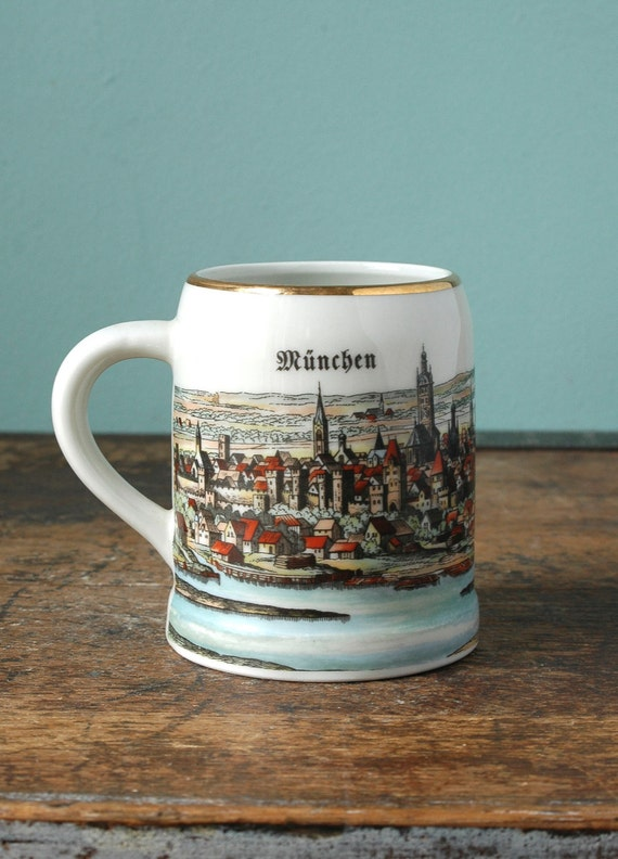 Old Beer Stein Munchen Artwork City Scene Made In Germany Mug