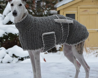 Greyhound Sweater Greyhound Coat Greyhound Jumper Sighthound Coat Large Dog Sweater Large Dog Clothes Crochet Dog Sweater