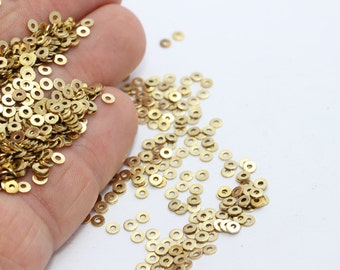 250 Pcs 3mm Raw Brass Round Disc , Stamping Tag , Coins, Middle Hole Coins, Tiny little Charms, ALS32