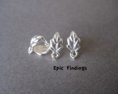 3 Bright Silver Leaf Pinch Bails, Pendant / Earring Dangle Bail, Clasp, Connector, Design, Craft Supplies, Epic FIndings