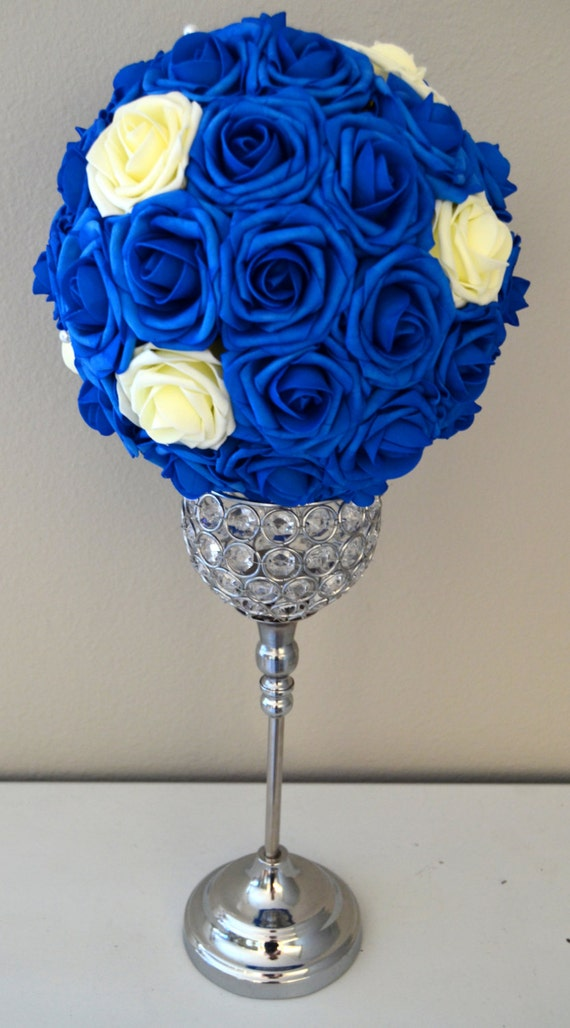 Royal blue with ivory accents flower ball wedding pomanders