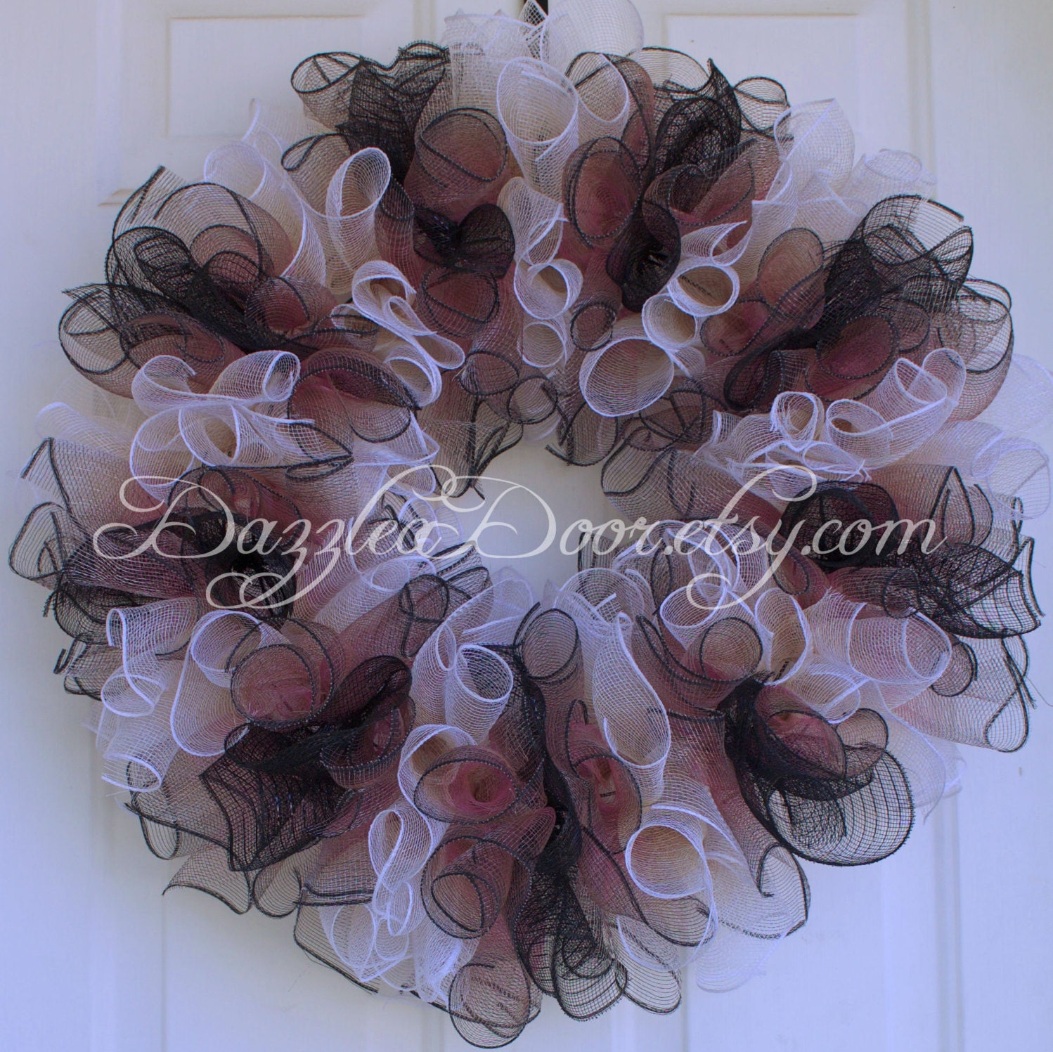 Ruffled Wreath Ombre Deco Mesh Wreath Classical