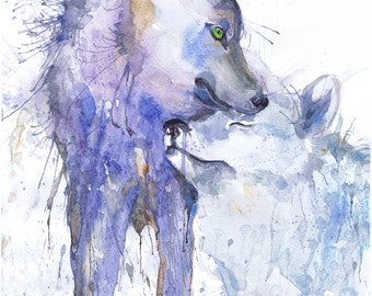 Wolf Painting Watercolor, two Wolves Art, animals couple, Illustration, poster, animal art, art print, nature painting, wolf wall art