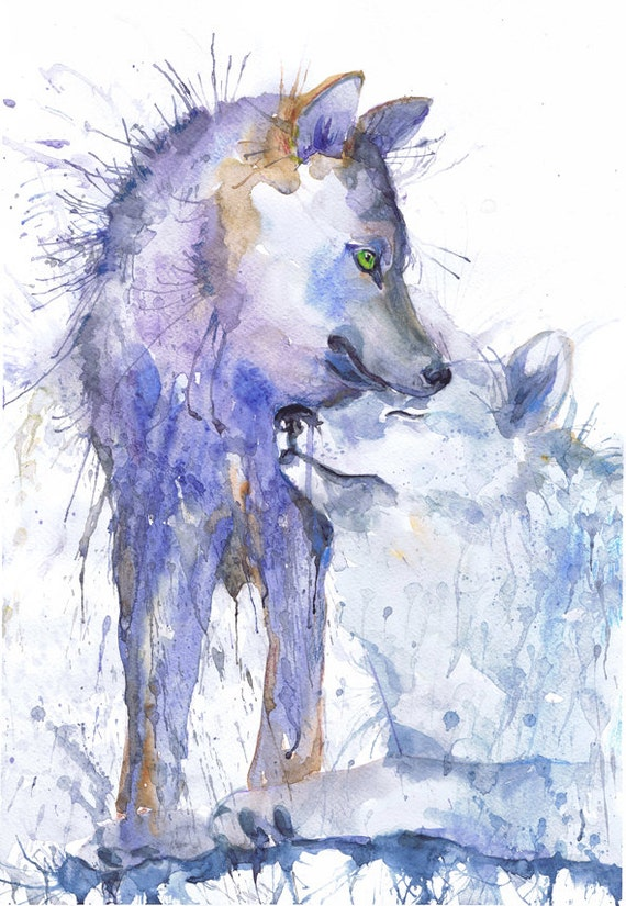 Wolf painting watercolor two wolves art animals couple by ...