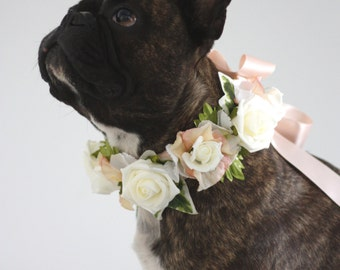 Flower Dog Collar for Weddings - Peach & Cream