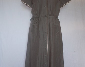 Vintage dress 90s Laura Ashley Taupe shirt waister dress silk linen size small medium