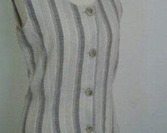Vintage dress Oxbow French Dress grey striped size small UK 10