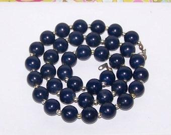 Blue Necklace / Blue Bead Necklace / Bead Strand Necklace - Navy / Navy Blue / Dark Blue