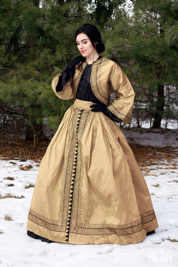 Victorian Costume Dresses & Skirts for Sale I-D-D Re-enactment Civil War Dickens VICTORIAN Zouave Dress Natural  l/xl $149.99 AT vintagedancer.com