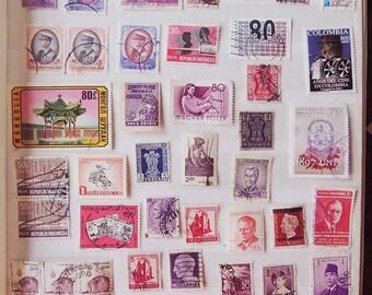 50 PURPLE Vintage International Postage Stamps - Scrapbooking - Card Making - Collecting