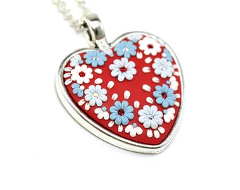 Valentines day gifts Heart Shaped Pendant Necklace Polymer Clay Jewelry Polymer Clay Necklace Pendant Fashion jewelry  Heart pendant Gift