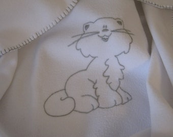 Embroidered fleece cover ' sneaky Cat '