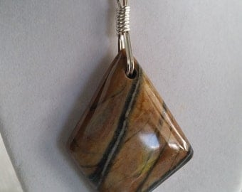 Brown & Black Stripped Jasper with Silver Wire Wrapped Bail