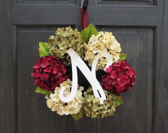 Holiday Monogram Wreath, Christmas Initial Wreath, Custom Christmas Wreath, Monogrammed Wreath for Christmas Door Decor, Holiday Decoration