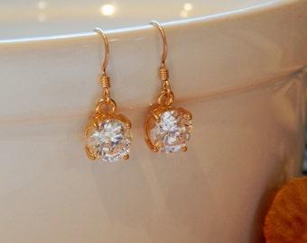Clear Crystal CZ Earrings, Gold Earrings, Elegant Crystal Earrings, Graduation Gift