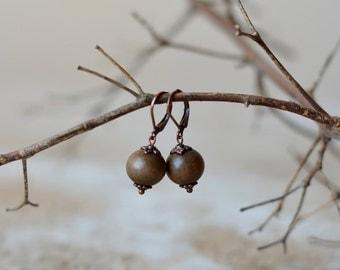 Brown earrings drops dangle earrings gift for her wooden earrings boho