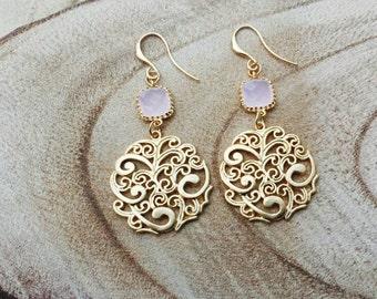 16K goldplated filligree chandelier earrings