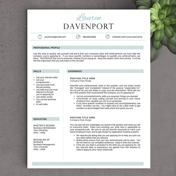 creative resume template for word free by landeddesignstudio
