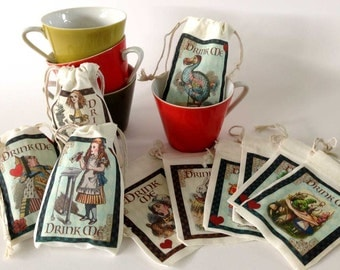 DRINK ME Tea Party Favor Bags | Alice in Wonderland | Personalized | 10 Designs | 3x5 | 4x6 | 6x8 Full Color Not Stamped | Customize