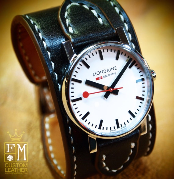 "Leather cuff watch Mondaine Swiss watch 1.5"" wide Black Custom made for YOU in NYC by Freddie Matara"