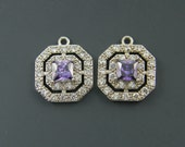 Amethyst Earring Findings Purple Earring Findings Silver Clear Double Halo Cubic Zirconia Wedding Bridal Bridesmaid Pendant Charms |PU1-17|2