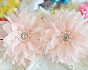 New! 2pcs Handmade chiffon flowers--light pink (FB1069)