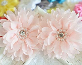 New! 2pcs Handmade chiffon flowers--light pink (FB1069)