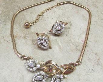 Vintage 1950's Jewelry Demi Parure Signed Crown TRIFARI Rhinestone Set Necklace & Clip Earrings