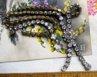 Rhinestone Choker Vintage Necklace, Retro Rhinestone Necklace, Rhinestone Jewelry, Rhinestone Tassel Choker, Vintage Jewelry Tassel Necklace
