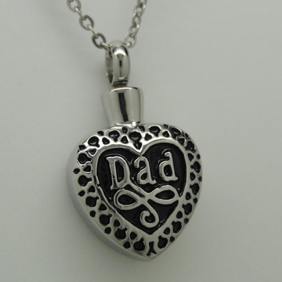 dad heart cremation urn necklace ashes keepsake memorial