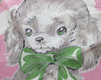 Vintage Hankie, Puppy Handkerchief, Child's Hankie, Children's Handkerchief, Cute Puppy, Dog Hankie, Pink Hankie, Cute Kawaii Zakka Cute Dog