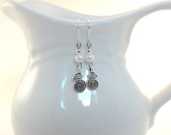 Swirl and Pearl Earrings - Karen Hill Tribe Earrings - White Freshwater Pearl Earrings - Silver Earrings - Wire Earrings - Sterling - E100