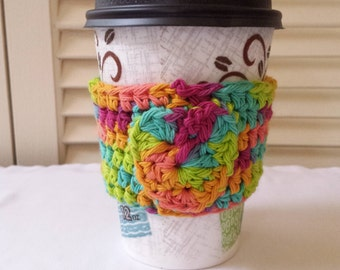Crochet Coffee Cup Cozy / Reusable / Bright Multi Color Mix With Heart Applique/  Hot Drink Sleeve/ Handmade/ Gift Idea