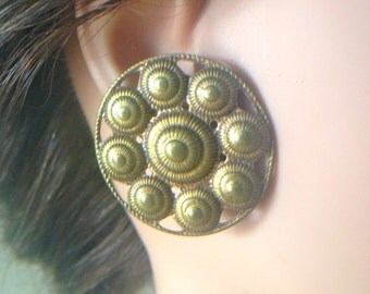 Stunning Boho 60s Brass Filigree Earrings Artisan Handmade Women's Accessories