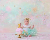 Mint and Gold Birthday Dress Tutu Outfit for Baby Girls 1st Birthdays