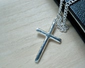 """Large cross necklace silver jewelry - Cana Jesus cross silver pendant - Hammered silver pendant - Mens cross necklace - 24"""" silver chain"""