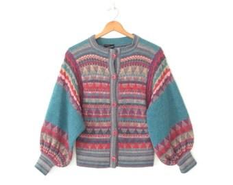 80s Cardigan Sweater * English Wool Sweater * Pattern Knit Cardigan * Medium