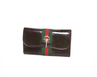 GUCCI Vintage Wallet Brown Leather Web Tri-Fold Coin Purse - AUTHENTIC -
