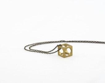 GEOMETRIC CHARM NECKLACE // Cubed Brass Mens Necklace Unisex Charm Necklace