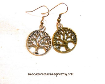 Choose Your Tree Dangle Earrings Surgical Steel French Hooks