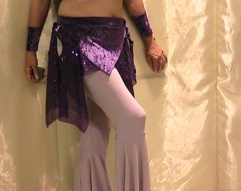Sale!!! ATS Tribal, Festival and Flamenco Flare pants In Lilac with shimmering purple velvet and glitter dot removable skirt