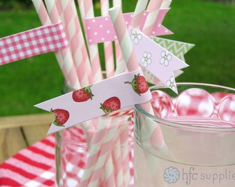 Summer Garden drinking straw flags - Party Printables, pink, green, red, flower and strawberry patterns - Digital Instant Download F011