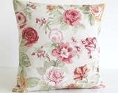 Shabby Chic Decorative Pillow Cover, Floral Cushion Cover, 16 Inch Pillow Sham, 16x16 Pillowcase, Toss Pillow - Country Flowers Sage