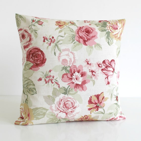 Shabby Chic Decorative Pillow Cover Floral Pillow by CoupleHome