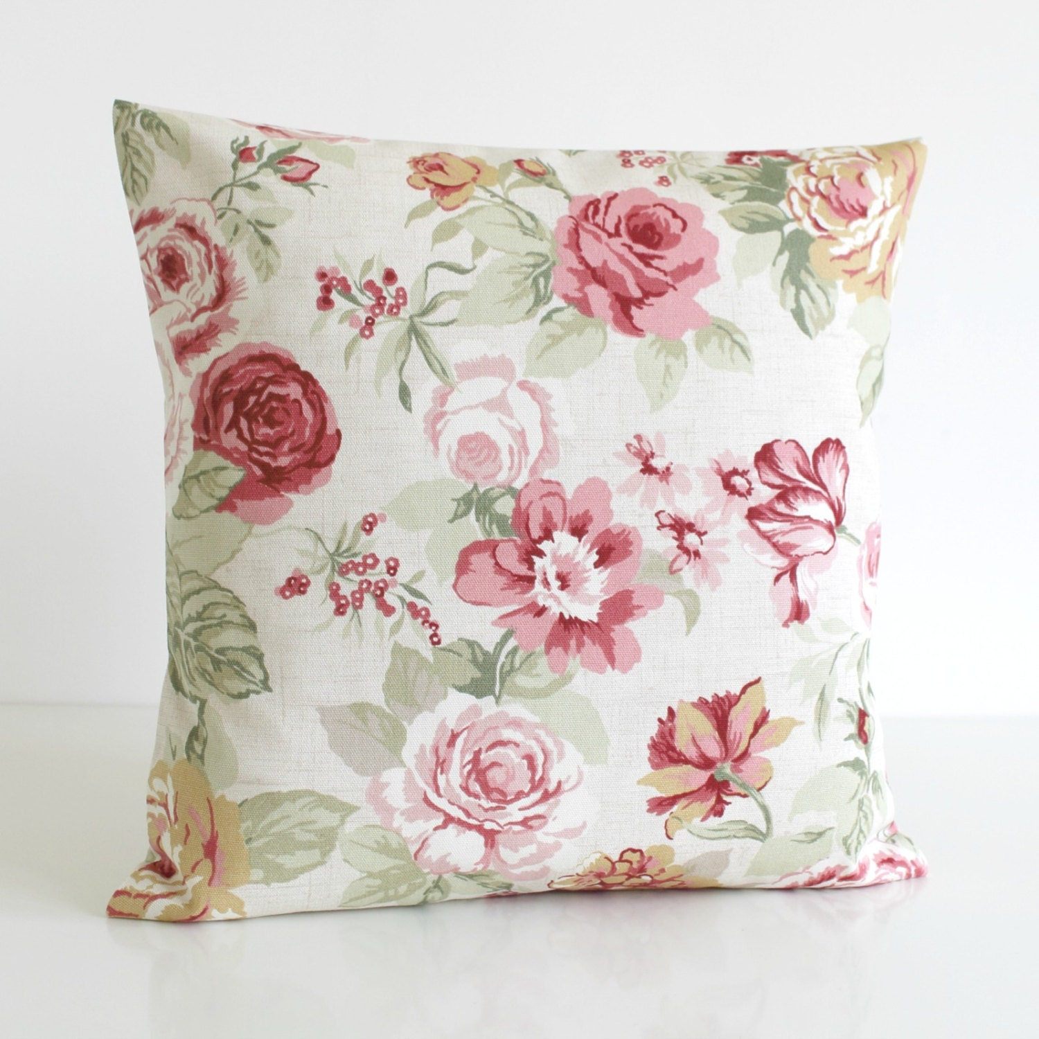 Decorative Pillows Flowers : Shabby Chic Decorative Pillow Cover Floral Cushion by CoupleHome