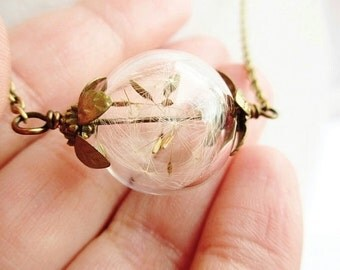 Dandelion Seed Filled Glass Wishing Orb Terrarium Necklace, Small Orb in Bronze or Silver, Bridesmaids Gifts, Nature Lover