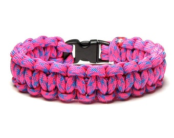 Paracord Bracelet Razzmatazz Hot Neon Pink Turquoise Blue Summer Accessory Bright Colorful Fun Hiker Teen Women Birthday Gift Box Friendship