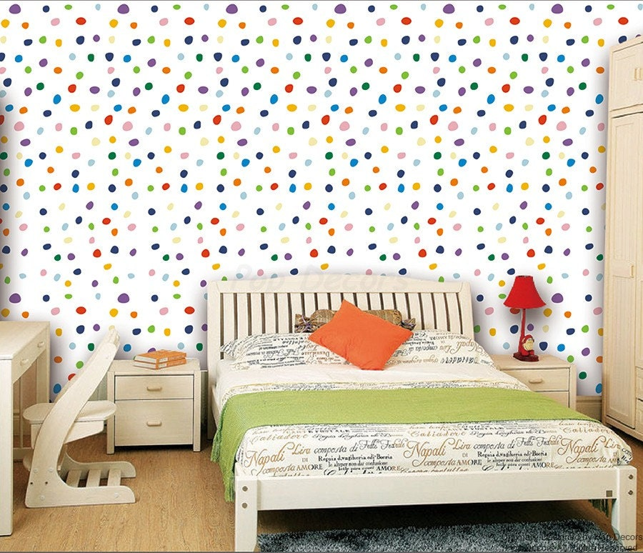 Colorful Kids Rooms: Kids Room Wall Decors Colorful Polka Dots Wallpaper Modern