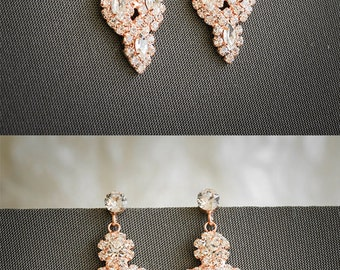 Rose Gold Bridal Earrings, Chandelier Wedding Earrings, Leaf Earrings, Vintage Style Dangling Earrings, Art Deco Bridal Jewelry, JOCASTA